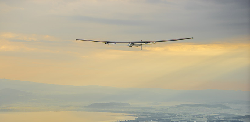 Solar Impulse 2 flying over Switzerland during test flights in 2014 © Solar Impulse | Revillard | Rezo.ch